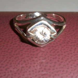Modernist Sterling Silver Solitaire Ring